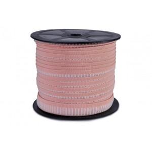 Elástico Colmeia Gola de Teni 15mm 0067.7515 Rosa / branco - Rolo c/ 50 Metros