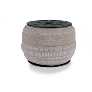Elástico Colmeia Gola de Teni 15mm 6900,7515 Bege / Branco c/ Lurex - Rolo c/ 50 Metros